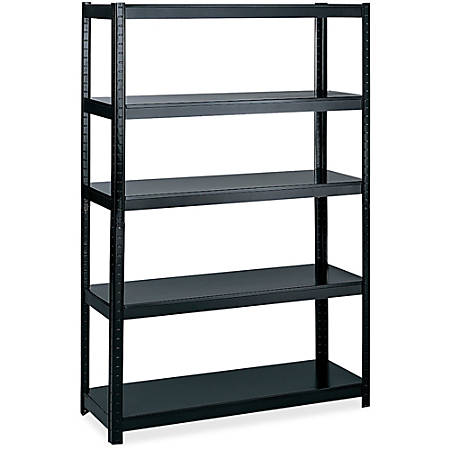 "Safco 48"" Wide 24"" Deep Boltless Shelving - 5 Compartment(s) - 72"" Height x 48"" Width x 24"" Depth - Floor - Black - Steel - 1Each"