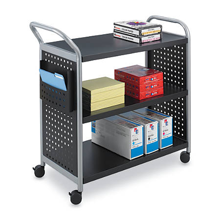 "Safco® Scoot 3-Shelf Steel Utility Cart, 38""H x 31""W x 13""D, Black/Silver"