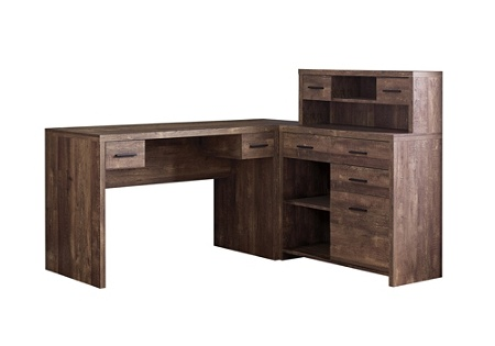 Monarch Specialties L-Shaped Computer Desk With Hutch, Brown Woodgrain Item  # 5411315
