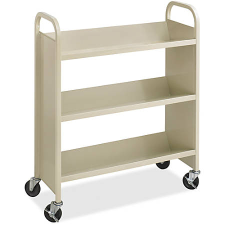 "Safco Steel 3-Shelf Single-Sided Book Carts - 3 Shelf - 2.50"" Caster Size - Steel - 36"" Width x 14.5"" Depth x 43.5"" Height - Sand"