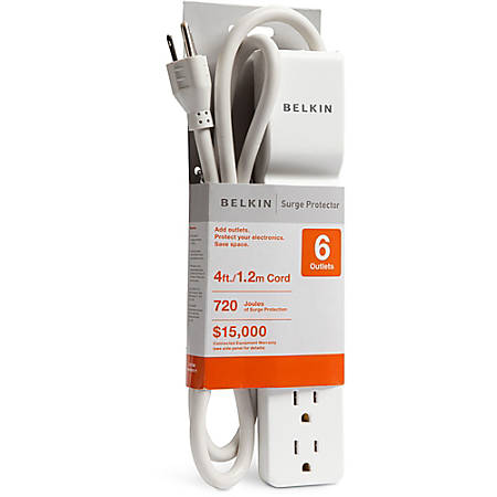 Belkin® Home/Office Series Surge Protector, 6 Outlets, 10' Cord, 700 Joules, White