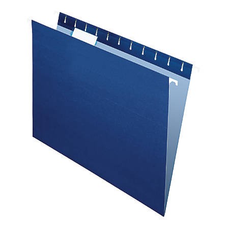 "Office Depot® Brand 2-Tone Hanging File Folders, 1/5 Cut, 8 1/2"" x 11"", Letter Size, Navy, Box Of 25 Folders"