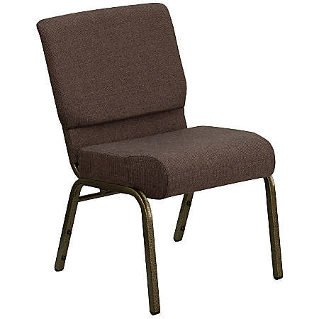 Flash Furniture HERCULES Extra-Wide Stacking Church Chair, Brown/Gold