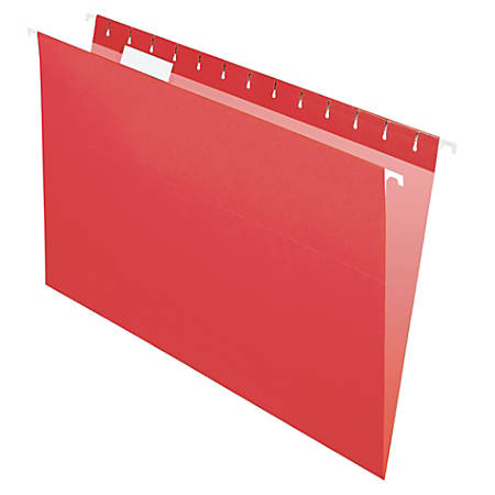 "Office Depot® Brand 2-Tone Hanging File Folders, 1/5 Cut, 8 1/2"" x 14"", Legal Size, Red, Box Of 25 Folders"