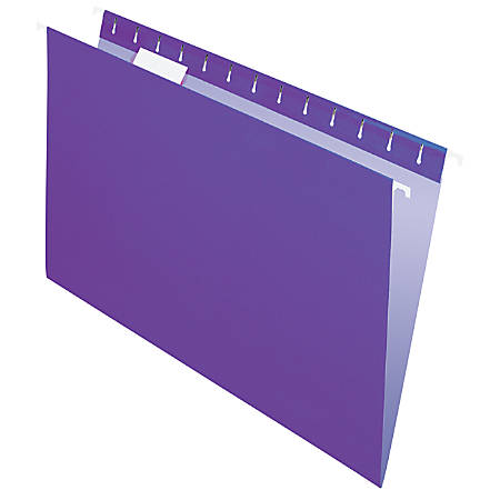 "Office Depot® Brand 2-Tone Hanging File Folders, 1/5 Cut, 8 1/2"" x 14"", Legal Size, Purple, Box Of 25 Folders"