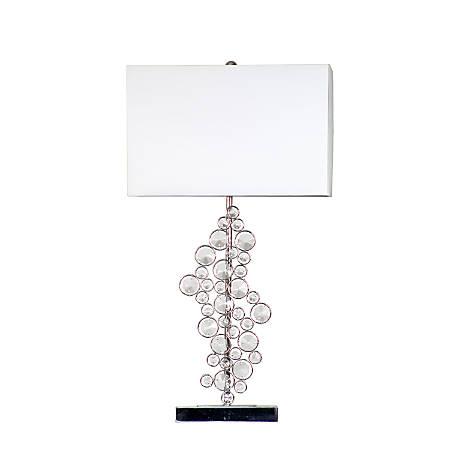 "Elegant Designs Prismatic Crystal Sequin Table Lamp, 25""H, White Shade/Chrome Base"
