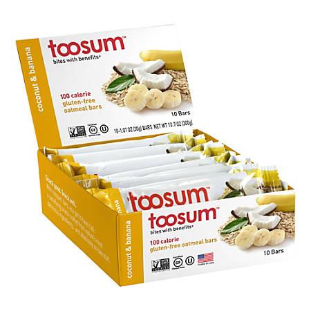 Toosum Healthy Foods Oatmeal Bars, Coconut and Banana, 1.07 Oz, Pack Of 20 Bars