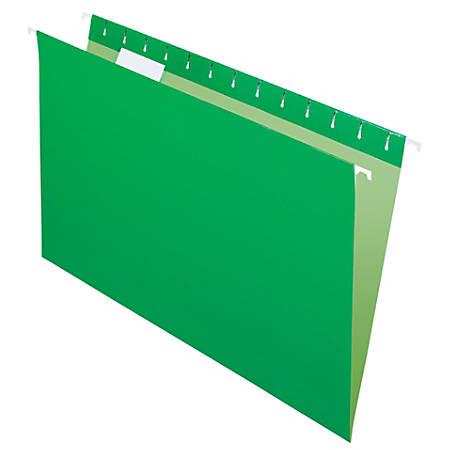 "Office Depot® Brand 2-Tone Hanging File Folders, 1/5 Cut, 8 1/2"" x 14"", Legal Size, Green, Box Of 25 Folders"