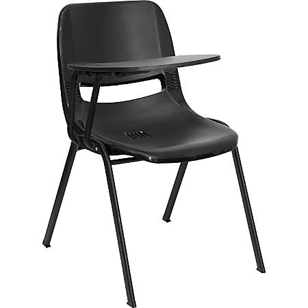 Flash Furniture Shell Chair With Right-Hand Flip-Up Tablet Arm, Black