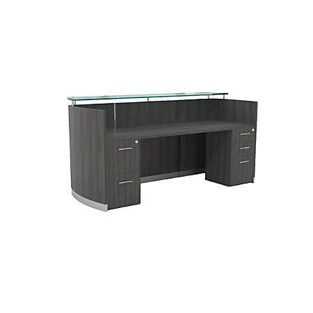 Mayline® Medina Reception Station, With 2 Pedestals, Gray Steel