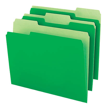 "Office Depot® Brand Interior File Folders, 8 1/2"" x 11"", Letter Size, Bright Green, Box Of 100 Folders"