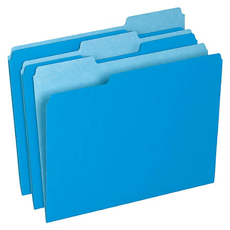 Office Depot® Brand Interior File Folders, 1/3 Tab Cut, Letter Size, Blue, Box Of 100 Folders