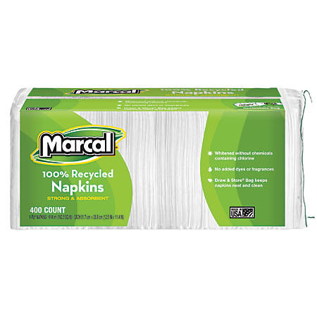 Marcal® 100% Recycled Luncheon Napkins, 1-Ply, Pack Of 400