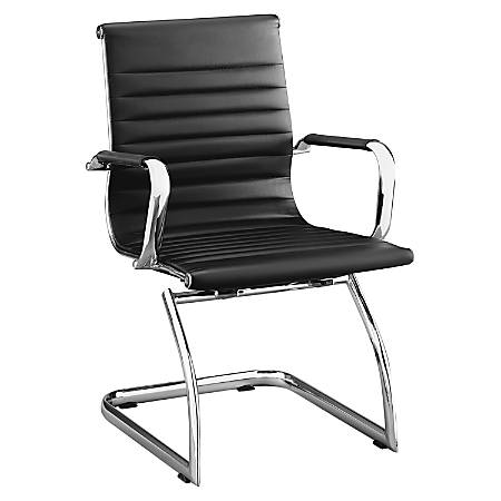 Lorell® Modern Series Mid-Back Bonded Leather Guest Chair, Black, Set Of 2