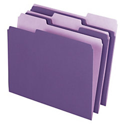 "Office Depot® Brand Interior File Folders, 8 1/2"" x 11"", Letter Size, Violet, Box Of 100 Folders"