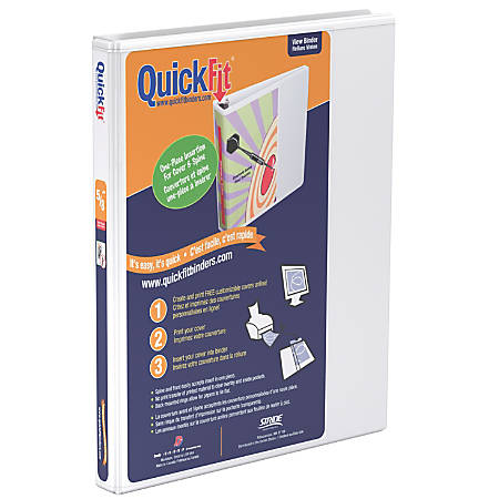"Stride® QuickFit® Angle D-Ring View Binder, 150-Sheet Capacity, 5/8"" Rings, 50% Recycled, White"