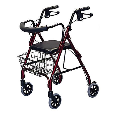 "Guardian Deluxe Rollator, 6"" Wheels, Burgundy"