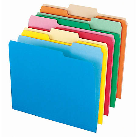 "Office Depot® Brand Interior File Folders, 8 1/2"" x 11"", Letter Size, Assorted, Box Of 100 Folders"