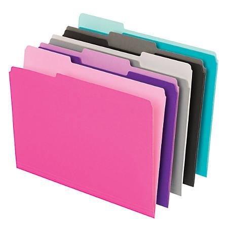 Office Depot® Brand Interior File Folders, 1/3 Tab Cut, Letter Size, Assorted, Box Of 100 Folders
