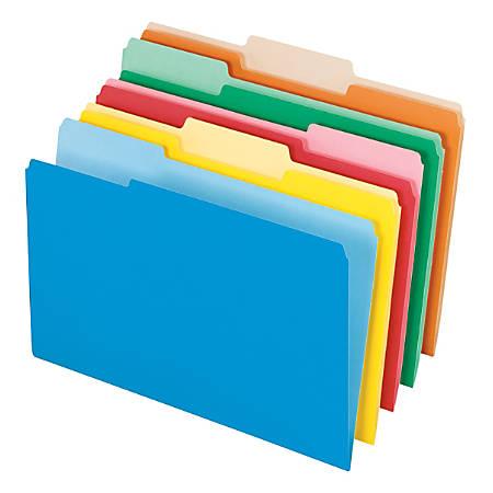 Office Depot® Brand Interior File Folders, 1/3 Tab Cut, Legal Size, Assorted, Box Of 100 Folders