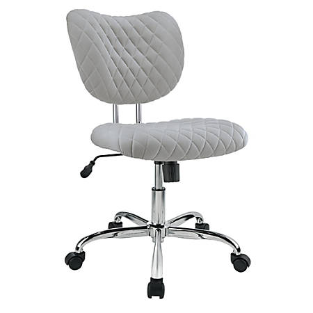 Brenton Studio® Jancy Quilted Fabric Low-Back Task Chair, Gray