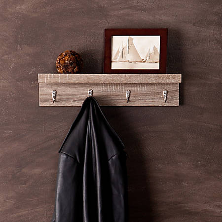 "Southern Enterprises Argo Wall-Mount Shelf, With Hooks, 19"" x 4"", Grayed Oak"