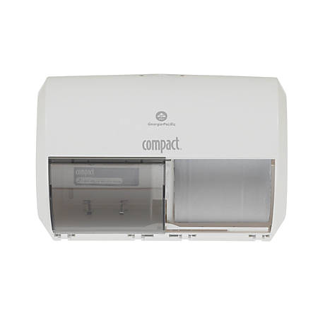 Compact® by GP PRO 2-Roll Side-by-Side Coreless High-Capacity Toilet Paper Dispenser, White