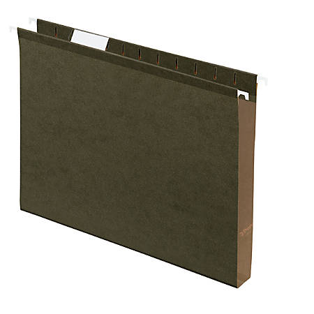 "Office Depot® Extra Capacity Hanging Folders With Reinforced Tabs, 1/5 Tab Cut, Letter Size (8-1/2"" x 11""), 1"" Expansion, Green, Box Of 25"