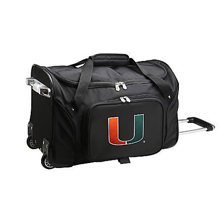 Denco Sports Luggage Rolling Duffel Bag, Miami Hurricanes, Black