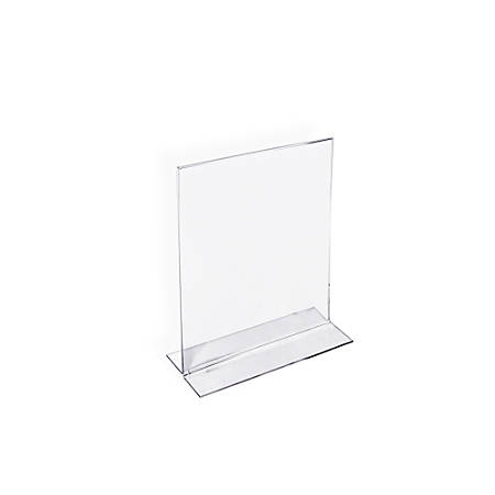 """Azar Displays Double-Foot Acrylic Sign Holders, 6"""" x 4"""", Clear, Pack Of 10"""