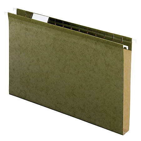 """Office Depot® Brand Extra Capacity Hanging Folders With Reinforced Tabs, 1"""" Expansion, 1/5 Tab Cut, Legal Size, Standard Green, Pack Of 25 Folders"""