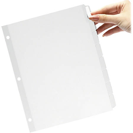 "TOPS Custom Label Tab Divider with Self-adhesive Tab Labels - 5 x Divider(s) - Blank Tab(s) - 8 Tab(s)/Set - 8.50"" Divider Width x 11"" Divider Length - Letter - 3 Hole Punched - Self-adhesive, Removable - White Paper Divider - White Paper T"