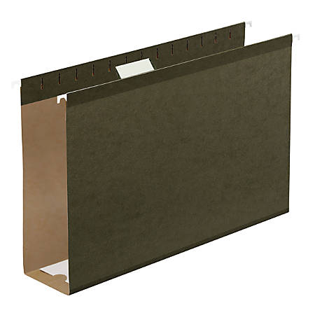"""Office Depot® Brand Extra Capacity Hanging Folders With Reinforced Tabs, 3"""" Expansion, 1/5 Tab Cut, Legal Size, Standard Green, Pack Of 25 Folders"""