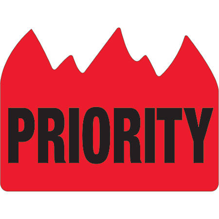 """Tape Logic® Flame Labels, DL1391, Priority (Bill of Lading), 1 1/2"""" x 2"""", Red/Black, Roll Of 500"""