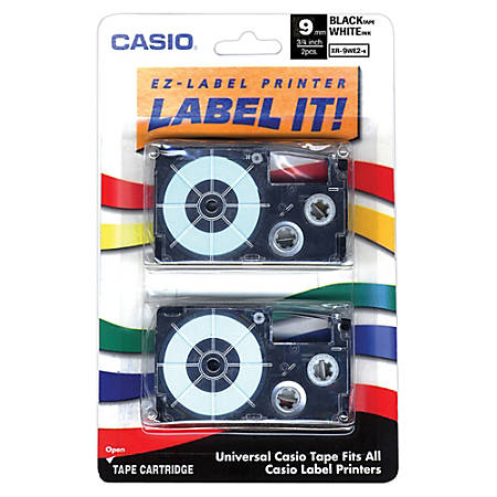 """Casio® XR9WE2S Black-On-White Tapes, 0.38"""" x 26', Pack Of 2"""