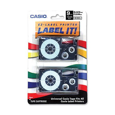 """Casio® XR9X2S Black-On-Clear Tapes, 0.38"""" x 26', Pack Of 2"""