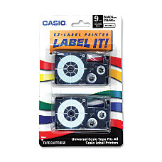 Casio XR9X2S Black On Clear Tapes