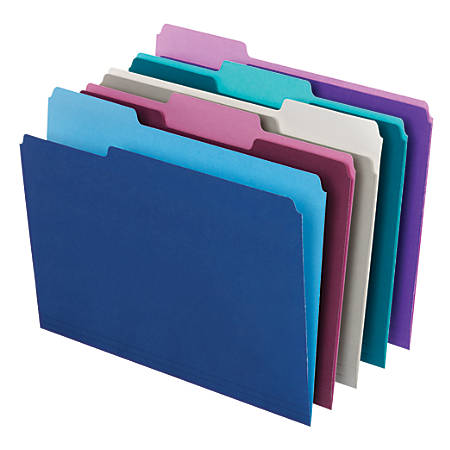 Office Depot® Brand Top Tab Color File Folders, 1/3 Cut, Letter Size, Assorted Colors, Box Of 100
