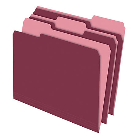 Office Depot® Brand 2-Tone Color File Folders, 1/3 Tab Cut, Letter Size, Burgundy, Pack Of 100 Folders