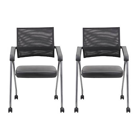 Boss Office Products Nesting Chairs, Black/Pewter, Set Of 2 Chairs