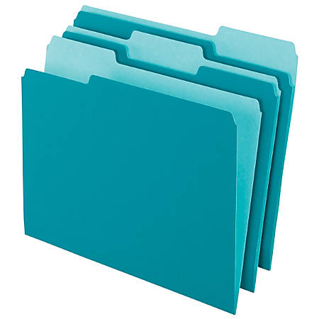 Office Depot® Brand 2-Tone Color File Folders, 1/3 Tab Cut, Letter Size, Teal, Pack Of 100 Folders