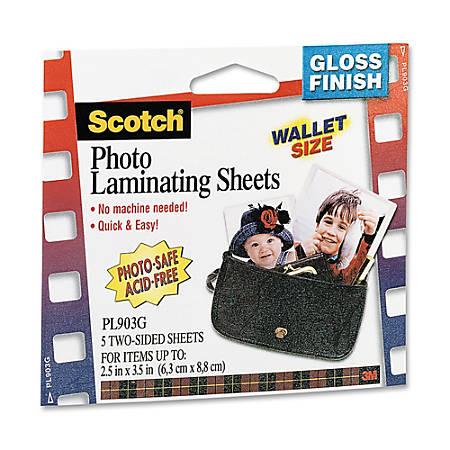 """3M™ Self-Sealing Photo Laminating Sheets, 2 1/2"""" x 3 1/2"""", Pack Of 5"""