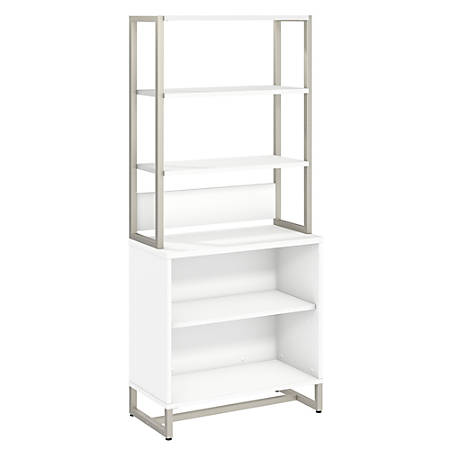 kathy ireland® Office by Bush Business Furniture Method Bookcase with Hutch, White, Standard Delivery