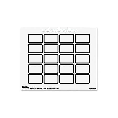 "Tabbies Legal Exhibits-U-Create 1"" Labels, TAB48090, 1 5/8""W x 1""L, Laser, White, 20 Per Sheet, Pack Of 240"