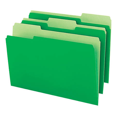 Office Depot® Brand Top Tab Color File Folders, 1/3 Cut, Legal Size, Green, Pack Of 100