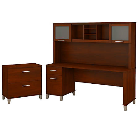 """Bush Furniture Somerset 72""""W Office Desk With Hutch And Lateral File Cabinet, Hansen Cherry, Standard Delivery"""