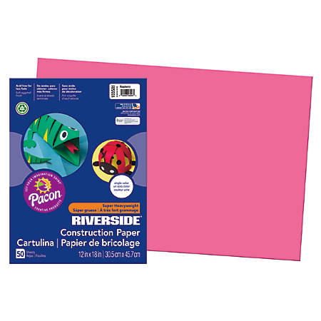 "Riverside® Groundwood Construction Paper, 100% Recycled, 12"" x 18"", Raspberry, Pack Of 50"