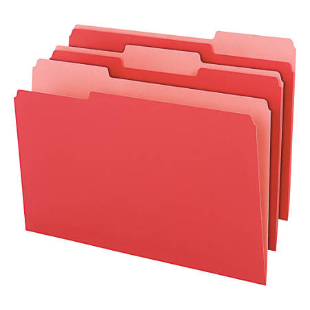 Office Depot® Brand 2-Tone Color File Folders, 1/3 Tab Cut, Legal Size, Red, Pack Of 100 Folders