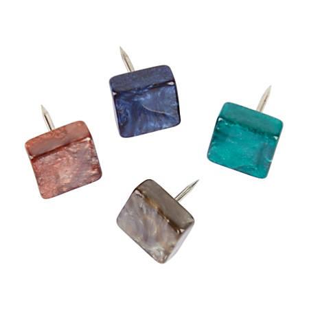 "Office Depot® Brand Plastic Push Pins, 7/16""H x 7/16""W x 7/16""D, Warm Gray, Pack Of 16 Push Pins"