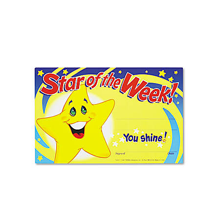 """TREND Recognition Awards, Star Of The Week, 5 1/2"""" x 8 1/2"""", Assorted Colors, Pack Of 30"""